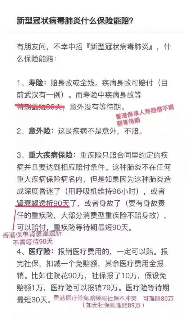 新型冠状病毒  香港保险和内地保险都怎么赔?